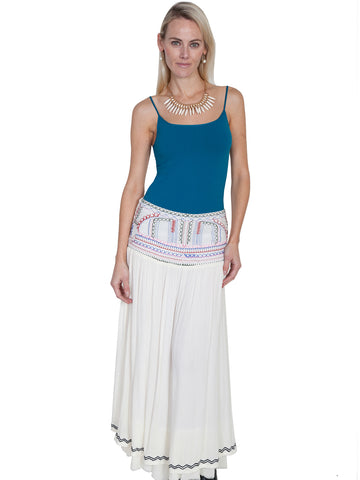 Scully Cantina Womens Natural 100% Viscose Embroidered Long Skirt
