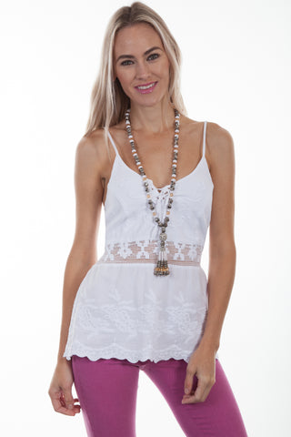 Scully Womens White 100% Cotton Soutache Tank Top