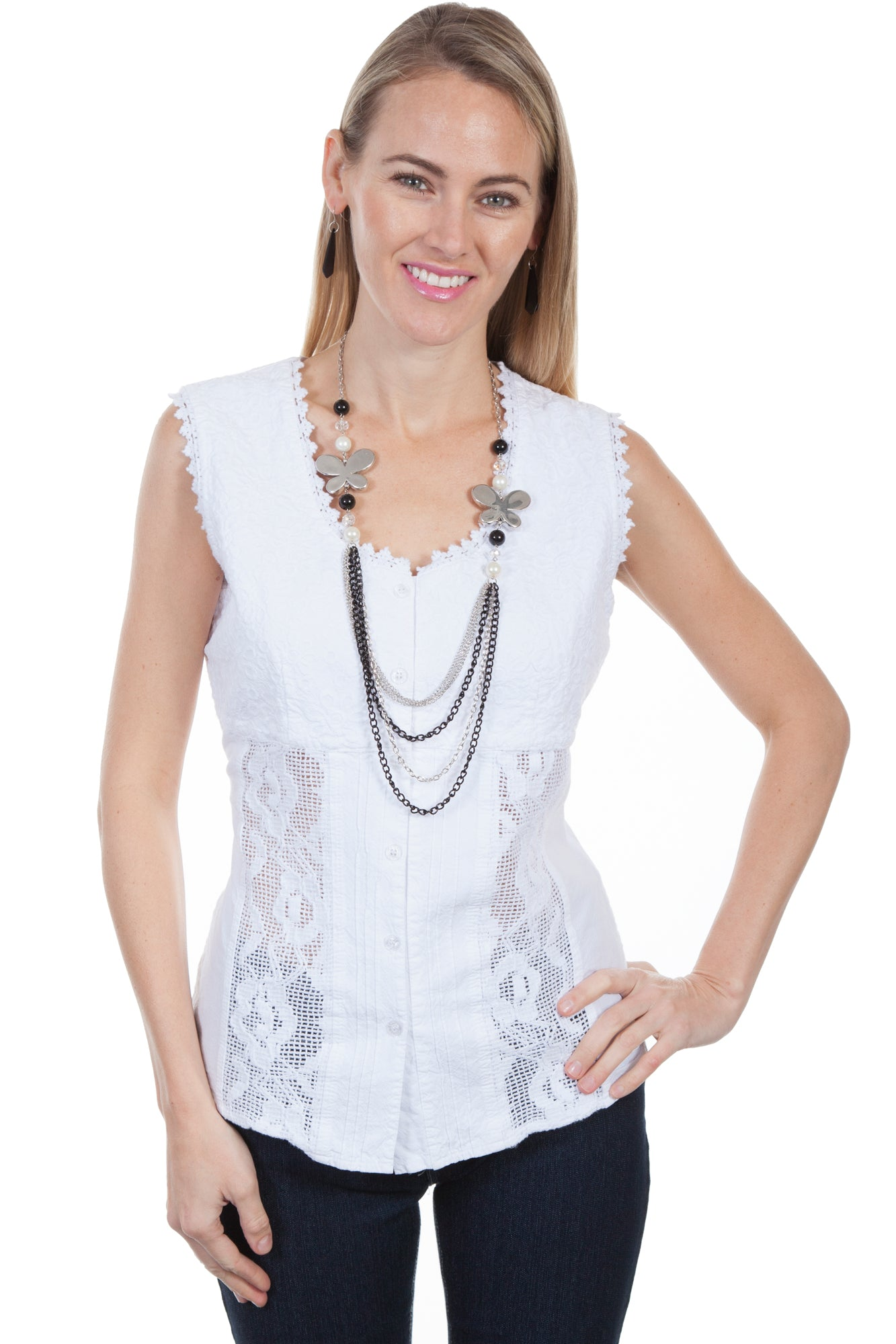 80a6f8d2ccd7 Scully Womens White 100% Cotton Crochet S/S Tunic. Tap to expand / Swipe  for next