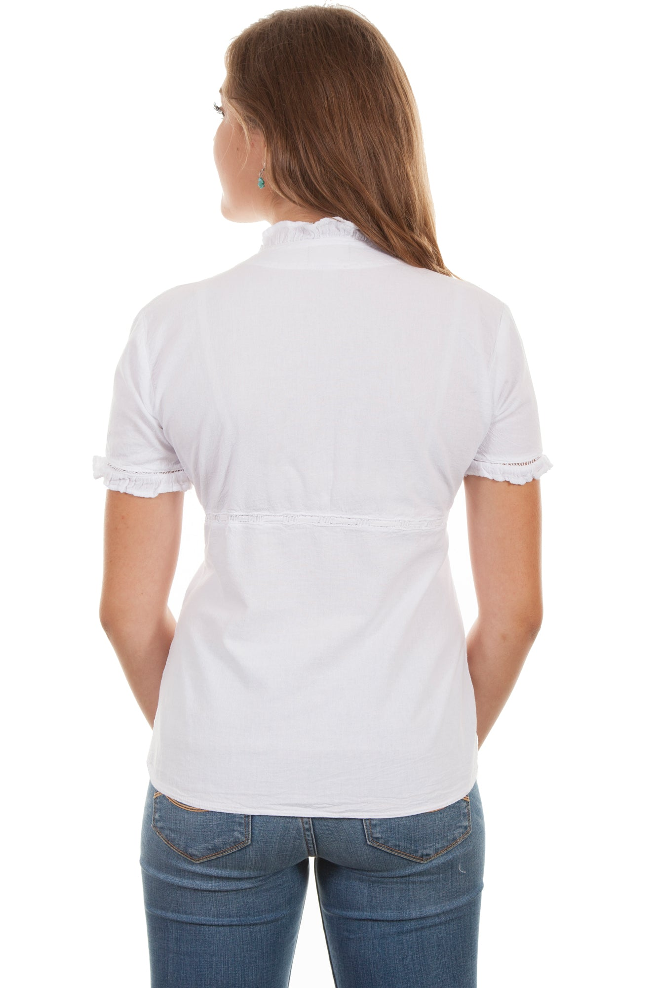 53ac735167fb Scully Womens White 100% Cotton Empire S/S Blouse – The Western Company
