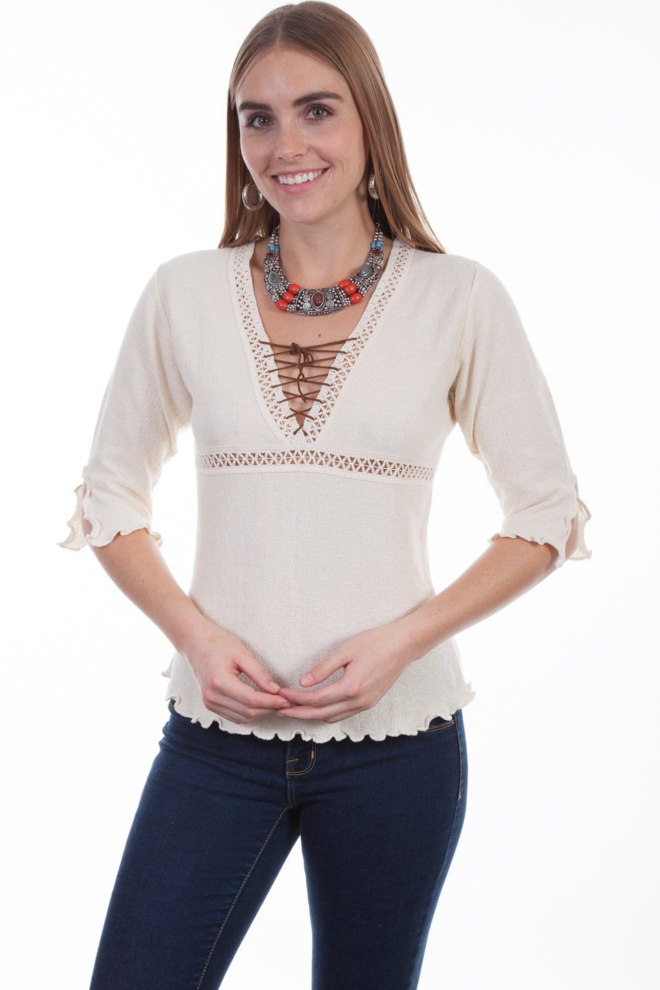 fcb673daccf5 Scully Womens Natural 100% Cotton Lace-Up S/S Blouse – The Western ...