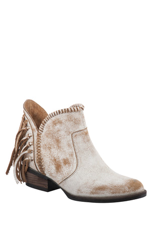 Circle G Urban Ladies Fringe White Cowhide Leather Shortie Ankle Boots