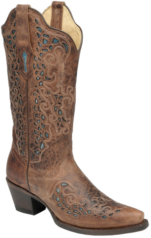 Corral Boots Womens Leather Burnished Inlay Brown Turquoise Cowgirl