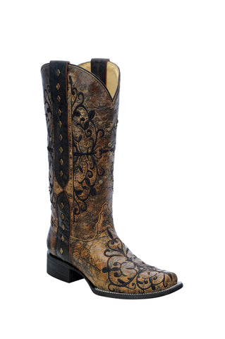 Corral Boots Womens Leather Fancy Scroll Brown Studded Cowgirl