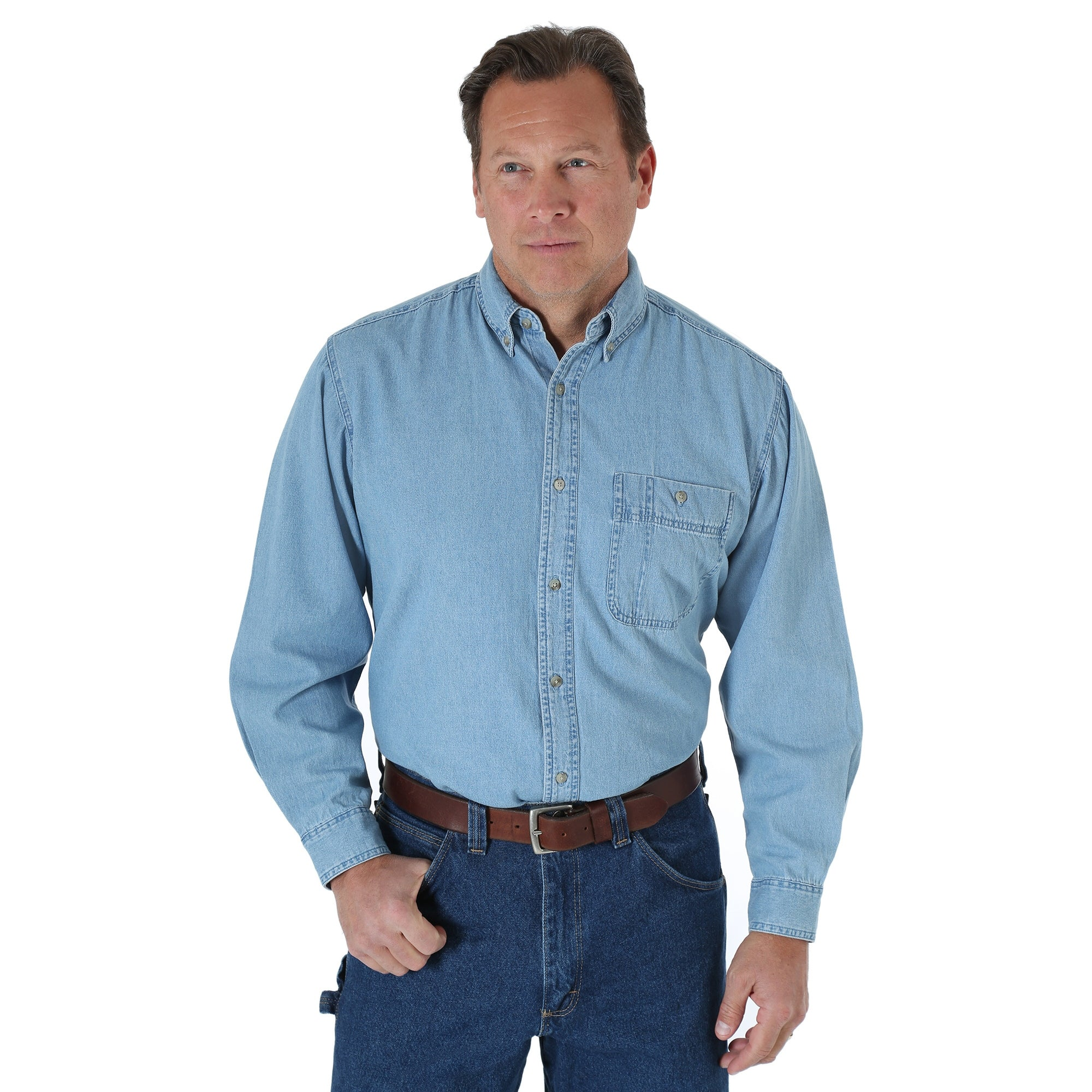 236831a791 Wrangler Mens Stonewash 100% Cotton Rugged Basic L/S Shirt – The ...