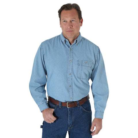 Wrangler Mens Stonewash 100% Cotton Rugged Basic L/S Shirt