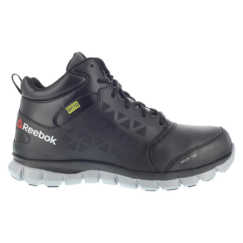 Reebok Mens Black Leather Work Boots AT MetGuard SR Lace-Up