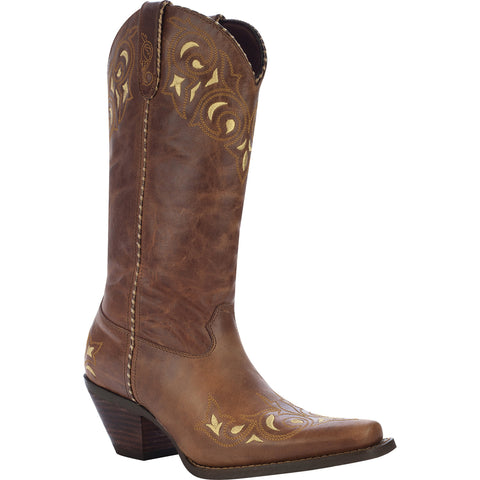 Crush by Durango Womens Sandy Brown Leather Sew Sassy Western Cowboy Boots