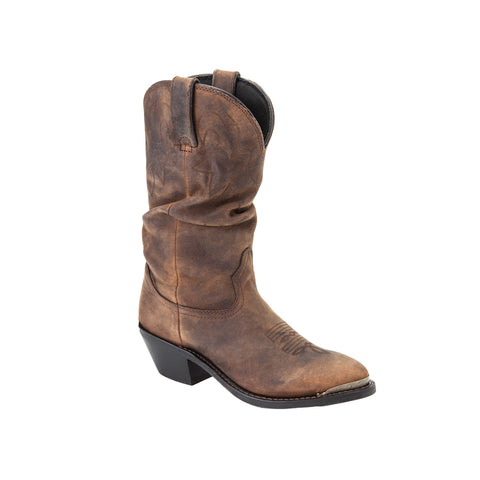 Durango Womens Distressed Tan Leather Slouch Western Cowboy Boots