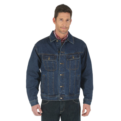 Wrangler Rugged Wear Mens Antique Indigo 100% Cotton Unlined Jacket