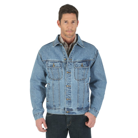 Wrangler Rugged Wear Mens Vintage Indigo 100% Cotton Unlined Jacket