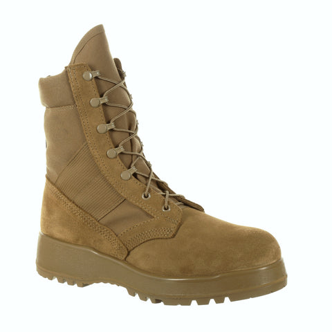 Rocky Mens Coyote Brown Leather Hot Weather Military Boots