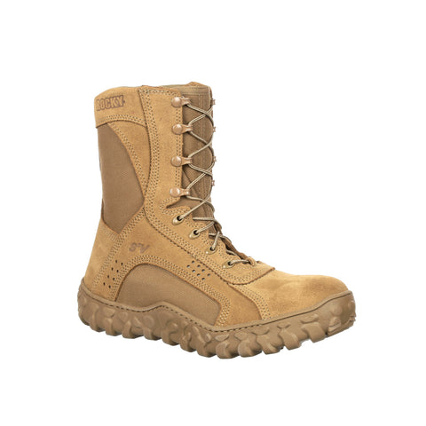 Rocky Mens Coyote Brown Leather S2V CT Tactical Military Boots