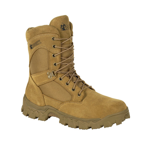 Rocky Mens Tan Leather Alpha Force 8in Duty Military Boots