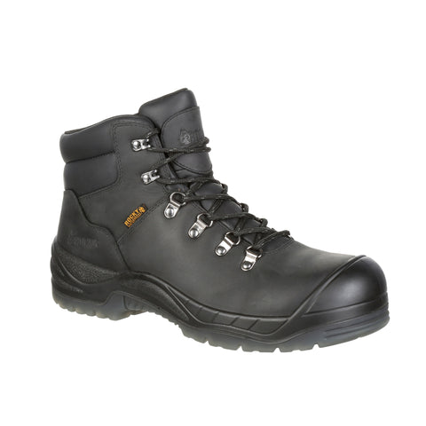Rocky Mens Black Leather Worksmart CT WP Work Boots