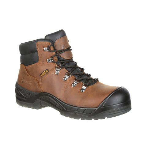 Rocky Mens Brown Leather Worksmart CT WP Work Boots