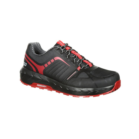 Rocky Mens Black Red Mesh LX AT Work Oxford Shoes