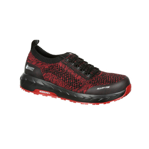 Rocky Mens Black Red Mesh Workknit LX AT Work Oxford Shoes