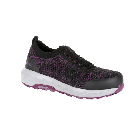 Rocky Womens Grey/Purple Mesh WorkKnit AT Athletic Slip-On Shoes