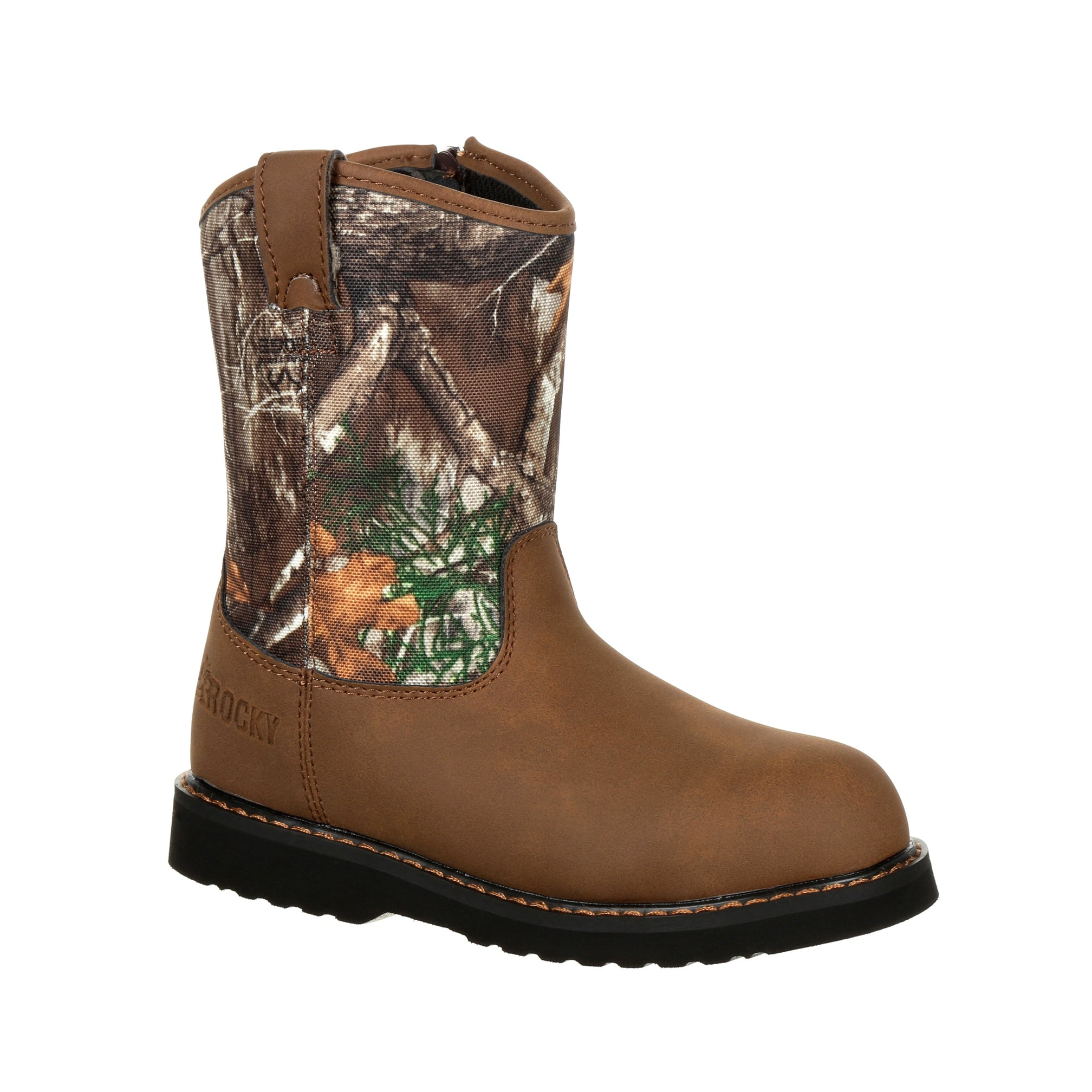 8b4316789c4 Rocky Kids Realtree Edge Leather Lil Ropers Outdoor Hunting Boots ...