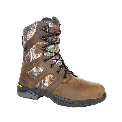 Rocky Mens Realtree Edge Leather Deerstalker WP 800G Hunting Boots