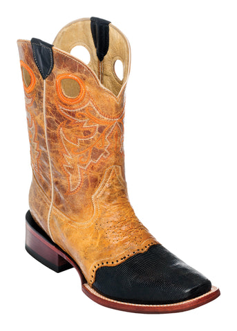 Ferrini Mens Antique Saddle/Black Mens Lizard Vamp Leather D-Toe Cowboy Boots