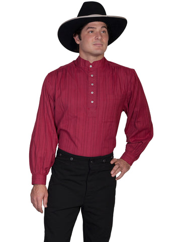 Scully RangeWear Mens Burgundy 100% Cotton Tombstone L/S Western Shirt