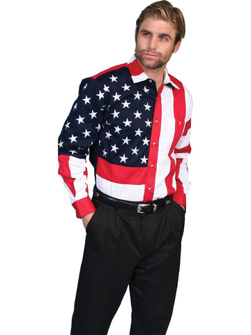 Scully RangeWear Mens Red 100% Cotton American Flag L/S Western Shirt
