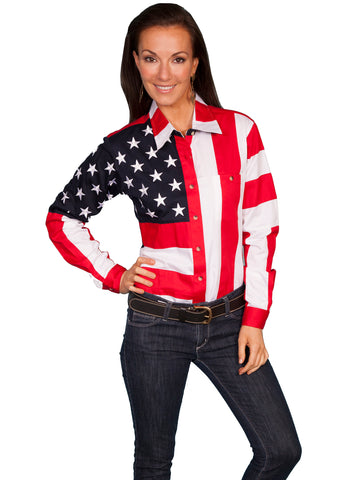 Scully RangeWear Womens Red 100% Cotton American Flag L/S Western Shirt