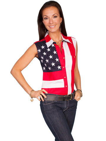 Scully RangeWear Womens Red 100% Cotton Flag Sleeveless Western Shirt