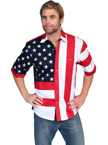 Scully Rangewear Mens Red 100% Cotton S/S USA Flag Western Shirt