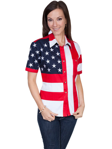 Scully RangeWear Womens Red 100% Cotton American Flag S/S Western Shirt