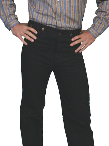 Scully RangeWear Mens Black 100% Cotton Notched Button Fly Canvas Pant