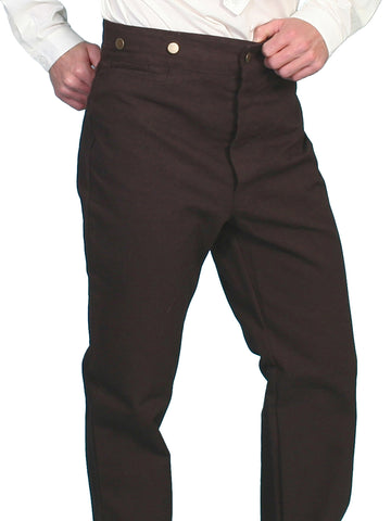 Scully RangeWear Mens Walnut 100% Cotton Notched Button Fly Canvas Pant