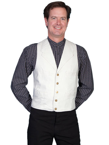 Scully RangeWear Mens Natural 100% Cotton Notched Lapel Canvas Vest