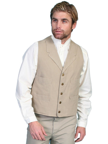 Scully RangeWear Mens Sand 100% Cotton Notched Lapel Canvas Vest