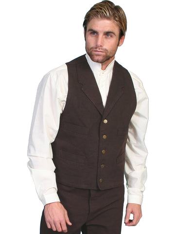 Scully RangeWear Mens Walnut 100% Cotton Notched Lapel Canvas Vest