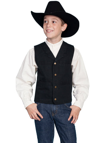 Scully RangeWear Boys Black 100% Cotton Notched Lapel Canvas Vest