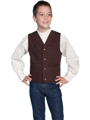 Scully RangeWear Boys Walnut 100% Cotton Notched Lapel Canvas Vest