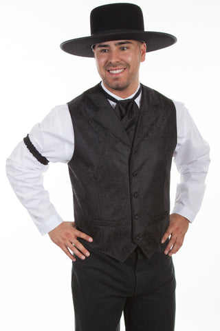 Scully Rangewear Mens Black Polyester Paisley Old West Big Vest