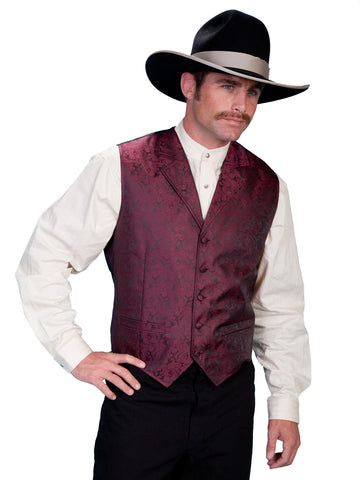 Scully Rangewear Mens Burgundy Polyester Paisley Old West Vest