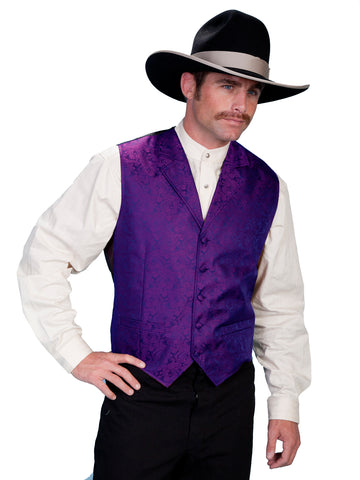 Scully Rangewear Mens Purple Polyester Paisley Old West Big Vest