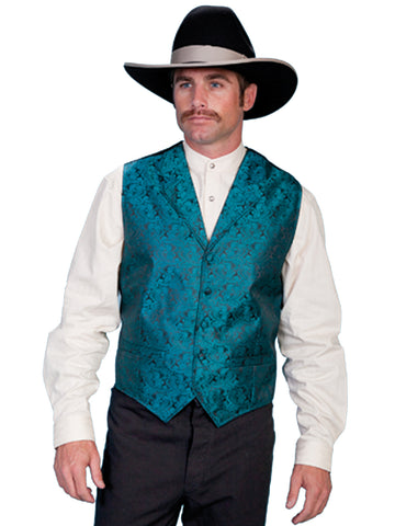 Scully Rangewear Mens Teal Polyester Paisley Old West Vest
