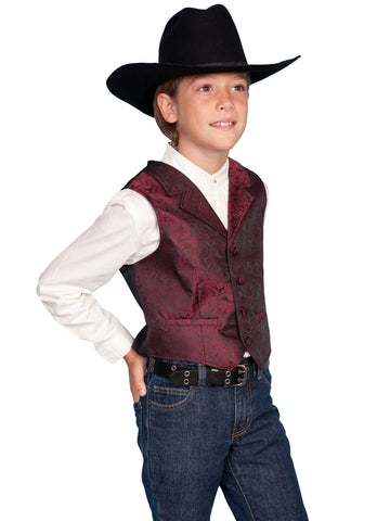Scully Rangewear Boys Burgundy Polyester Paisley Dress Vest