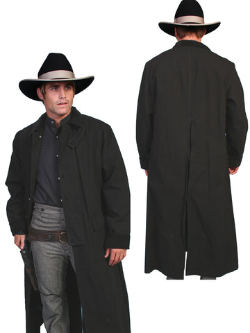 Scully RangeWear Mens Black 100% Cotton Long Overcoat Duster Coat