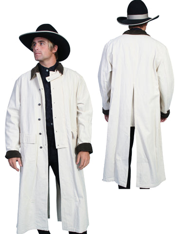Scully RangeWear Mens Natural 100% Cotton Long Overcoat Duster Coat