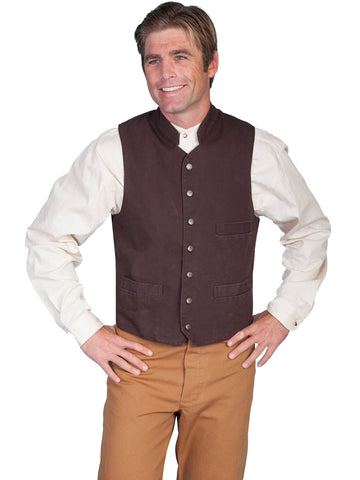 Scully RangeWear Mens Walnut 100% Cotton Work Western Canvas Vest