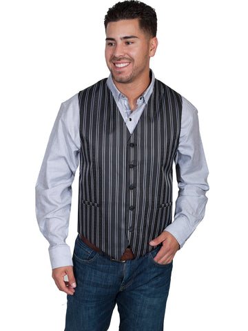Scully Mens Black Polyester Double Pinstripe Vest