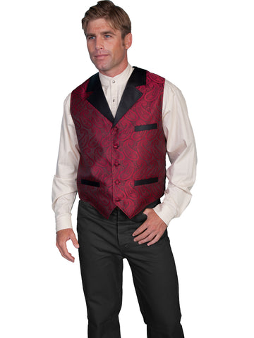 Scully Rangewear Mens Red Polyester Elmford Paisley Big Classic Vest