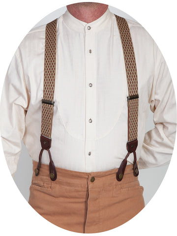 Scully Rangewear Beige Elastic Steel Diamond Suspenders
